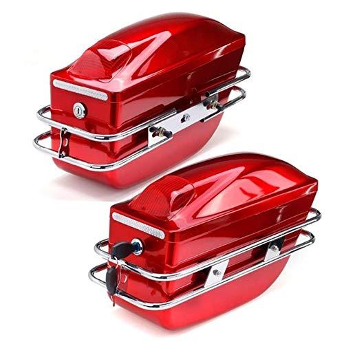 Caja de Herramientas Laterales de la Motocicleta con luz de la Cola Tanque de Equipaje Bolsa de Herramientas de la Cola Funda Dura Saddlebags Tronco Lateral Universal (Color Name : Red)