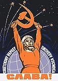 Poster Sowjetunion Propaganda Raumfahrt, russischer Text