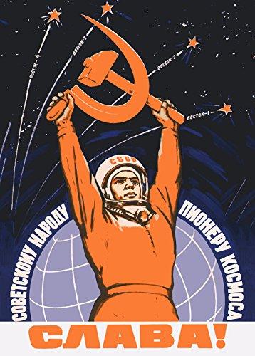 Poster Sowjetunion Propaganda Raumfahrt, russischer Text (Lang lebe das sowjetische Volk: die Raumfahrt-Pioniere), 1959, Valerin Viktorov, 250g/m², glänzend, A3, Kunstdruck