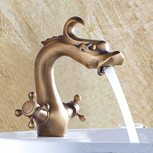 InChant Latón antiguo estilo del dragón de baño grifo mezclador del grifo para lavamanos de tocador con tuberías de agua caliente y fría