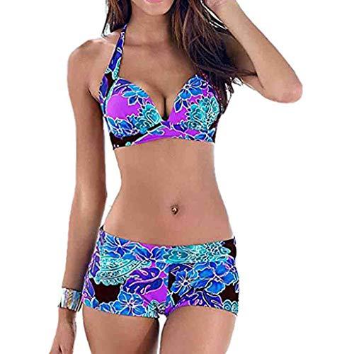 Fenverk Damen Bikini Set Mit Hotpants Push Up BH Strand Bademode Farbe Blocked Sets Badeanzug Bikini-Sets Push-Up Gepolstert Drucken Shorts(Blau,L)