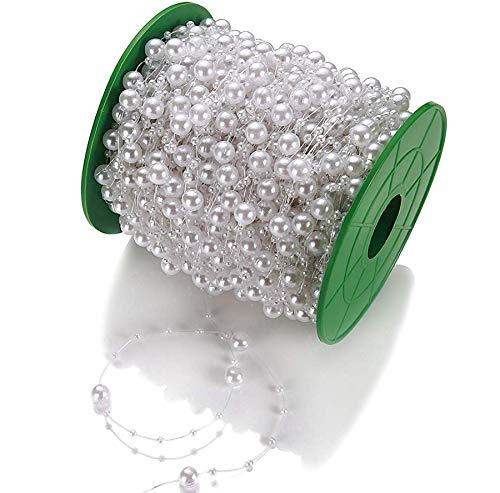 Perlengirlande Perlenband Weiß 75 Meter I Glänzend I Perlen Girlande für Hochzeit I Perlenschnur Tisch Deko Perlenkette Hochzeitsdeko
