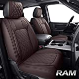 Aierxuan Car Seat Covers for Ram Custom Fit 2009-2021 1500, 2010-2021 2500/3500 Crew Quad Regular Cab Heavy Duty Truck Pickup Waterproof Leather Compatible with Split Bench 40/60(Full Set/Brown)