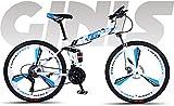 Ligero, Soft Tail Bicicleta plegable 26 pulgadas Montaña, Estudiante adolescente Ciudad camino de la bicicleta, doble freno de disco bicis de nieve Beach, ruedas de aleación de magnesio integrado Liqu