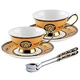Taza de Latte Art Creative Golden Retro apilamiento de tazas de té inglesas taza de café y platillos Combo 7.4oz / 210m,...