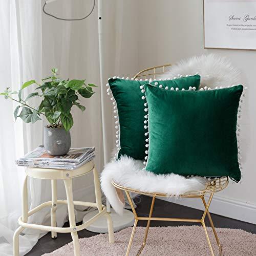 FabThing Federe Cuscini Divano Velluto Fodere Cuscini Decorativi Copricuscini Vintage Moderno per Salotto Letto Casa 2 Pezzi 45x45cm Verde Scuro