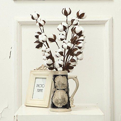 lulalula Lot de 3 tiges de coton artificiel de 53,3 cm - Style ferme - Décoration artistique - Émulation décorative - Pour la maison, le mariage