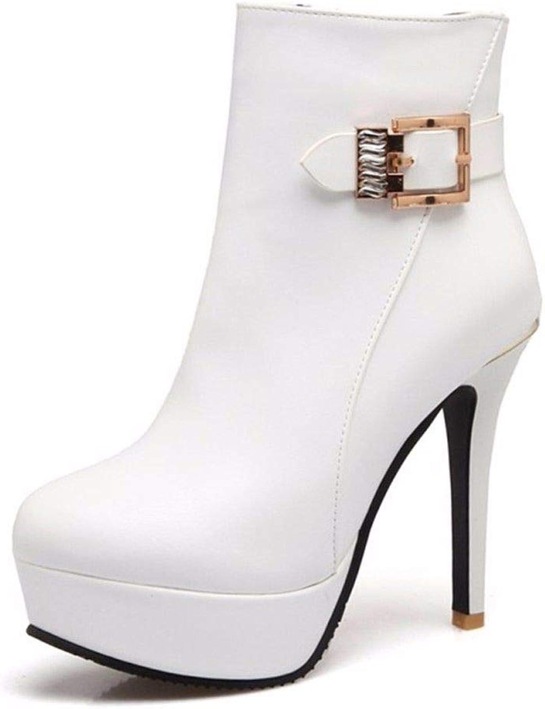 Autumn Winter high Heels Thin Heel Side Zipper Waterproof Platform Woman Big Code Short Boots