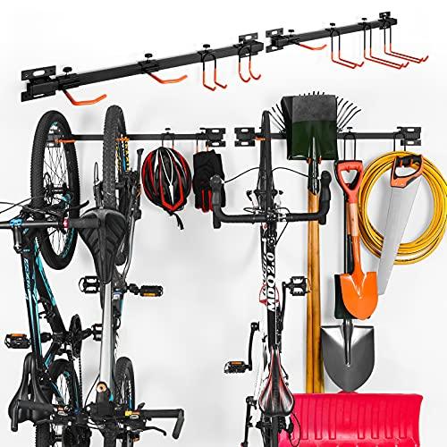 ikkle Soporte para aparcar Bicicletas, Soporte Pared Bicicleta, Herramientas Organizador, Jardín Montaje en Pared Estante, Sistema de Almacenamiento de Garaje con Gancho para Colgador | 2pcs