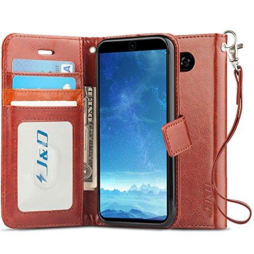 JundD Kompatibel für LG V35/LG V30S/LG V30S ThinQ/LG V30/LG V30 Plus Leder Hülle, [Handytasche mit Standfuß] [Slim Fit] Robust Stoßfest PU Leder Flip Handyhülle Tasche Hülle für LG V35 Hülle - Braun