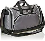 AmazonBasics Small Lightweight Durable Sports Duffel Gym and Overnight Travel Bag - Grey