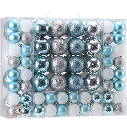 Sea Team 87 Pieces of Assorted Christmas Ball Ornaments Shatterproof Seasonal Decorative Hanging Baubles Set with Reusable Hand-held Gift Package for Holiday Xmas Tree Decorations, Babyblue