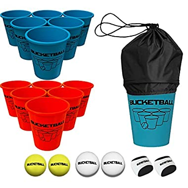 BucketBall Beach Edition Combo Pack - Ultimate Beach, Poolside, Backyard, Camping, Tailgate, Outdoor Game - Includes 12 Buckets, 6 Game Balls, Tote Bag, Instructions