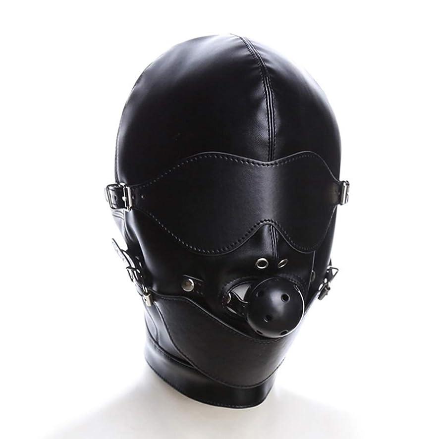 HLJ Open Eye Black Ball Mouth Plug Head Cover Mask Adult Bondage Passion Couple Flirt Supplies Binding Toy T-Shirt
