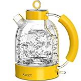 Electric Kettle, ASCOT Glass Electric Tea Kettle 1.7L, 1500W, Stainless Steel Tea Heater & Hot Water Boiler, Borosilicate Glass, BPA-Free, Cordless, with Auto Shut-Off and Boil-Dry Protection-Yellow