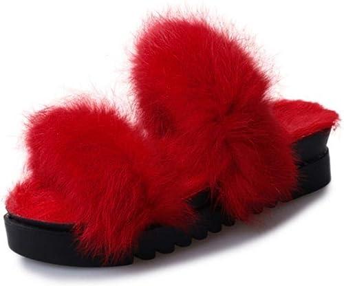 Fuxitoggo Mao Maosong Kaninchen Kuchen Damen High Heel Plattform EIN Wort  Pantoffeln Hausschuhe 35