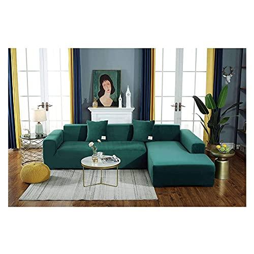 HUANXA Funda de sofá de Terciopelo elástica, Funda para Sofá en Forma de L Funda Cubre Sofá Gruesa y Antideslizante, Adecuada para Protector de Muebles de sofá Modular de 1 2 3 4 Asientos