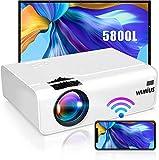 WiMiUS - Proiettore Wi-Fi portatile Full HD 5800 lumen, con supporto audio AC3, 720P, proiettore WiFi Home Cinema 80000 ore, per foto HDMI, VGA AV USB