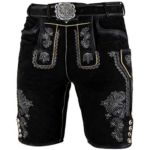 Stockerpoint Trachten Lederhose inklusive Gürtel OC-Mondi für Herren, kurz 100% feinstem Leder (56, Schwarz)