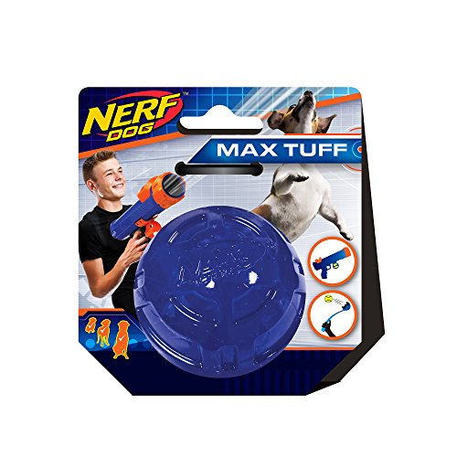 Nerf Dog Ultra Tough Rubber Ball Dog Toy Lightweight Durable and Water Resistant 25 Inches For Small/Medium/Large Breeds Single Unit Blue