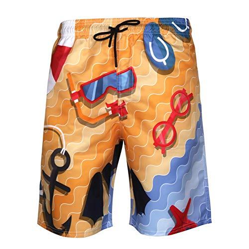 KSITH Heren Strand Shorts, Sneldrogende Casual Shorts 3D afdrukken Grote Maat Sweatpants Mesh Voering Zomer Koel en Snel Droog