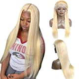 Lace Front Wig Blonde 613 Straight Brazilian Human Hair Wigs 13x6 Deep Part Swiss Pre Plucked Lace Wig Bleached Knots Free Part with Baby Hair for Black Women 150% Density 18'
