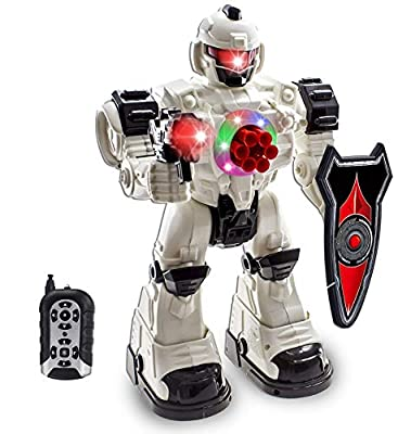 WolVol 10 Channel Remote Control Robot Police Toy with Flashing Lights and Sounds, Great Action Toy for Boys by WolVol
