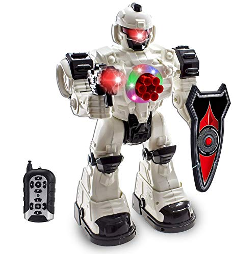 WolVol 10 Channel Remote Control Robot Police Toy with Flashing Lights and...