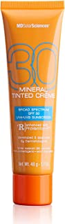 MDSolarSciences Mineral Tinted Crème SPF 30 Sunscreen, Smooth, Lightly Tinted Broad Spectrum UV Protection, Oil-Free, Natu...
