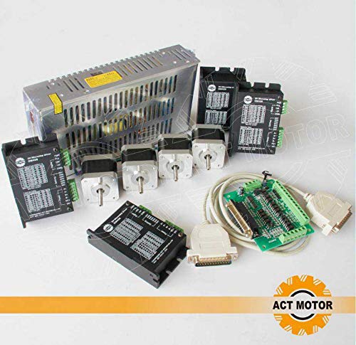 ACT MOTOR GmbH Nema17 4PCS Stepper Motor 17HS4417 40mm 1.7A 0.4Nm Ø 5mm+4PCS DM420 Stepper Motor Driver+1PC Power Supply+1PC Breakout Board & Cable CNC