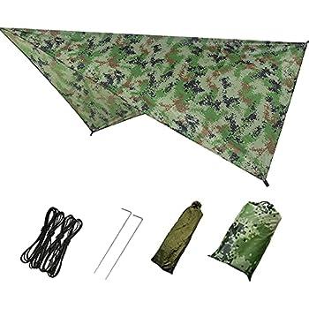 YingKu Camping Bâche Anti-Pluie Rain Tarp Imperméable Tarp Rain Fly Toile de Tente avec Sac de Rangement pour Extérieur Camping Randonnée 230 * 140 cm Camouflage