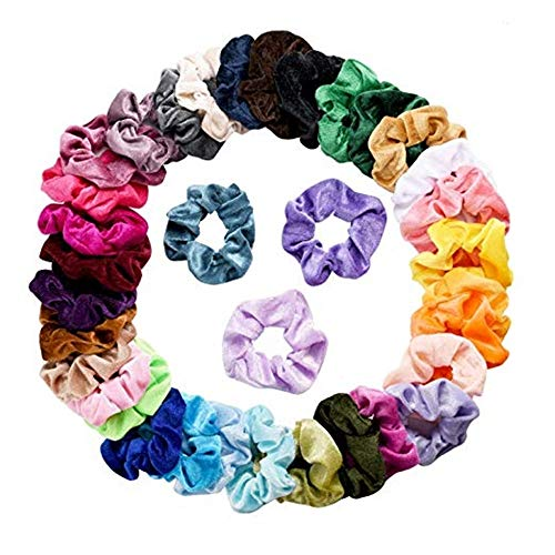 Lightning Deals Girls Hair Accessories, ZYooh 36 Pcs Velvet Elastic Hair Scrunchies Bands Scrunchy for Womens Young Girls (Mulitcolor)