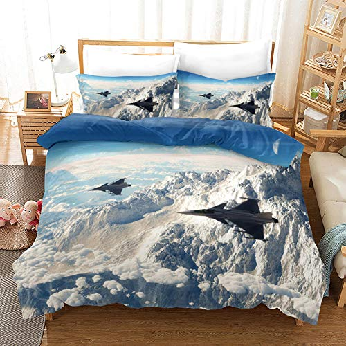 NHBTGH Printed Duvet Cover King Size White Polyester Bedding Set with Zipper Closure Quilt Cover Set+2 Pillowcases Easy Care Anti-Allergic Soft & Smooth Apply to Boy Girl Bedroom Airplane