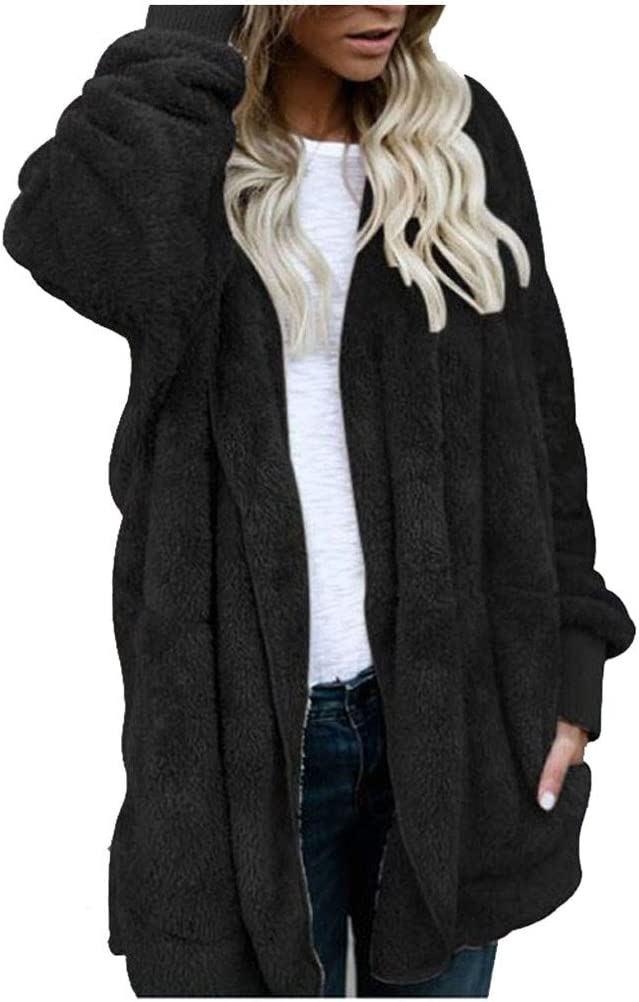 POTO Womens Fleece Open High quality new Front Cardigan Coat Jacket Hooded Solid Virginia Beach Mall