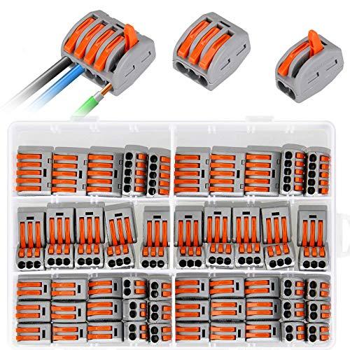 Borne de Connexion, Samione 60 pièces Connecteurs Électriques avec Levier de Commande, Automatique Rapide Connecteur de Fil de Câble, 30pcs 2 Entrées, 20pcs 3 Entrées,10pcs 5 Entrées
