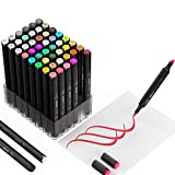 49 colors Alcohol Brush Markers,Ojofo Double Tipped Sketch Markers, Dual End Markers,Drawing Permanent Markers for...