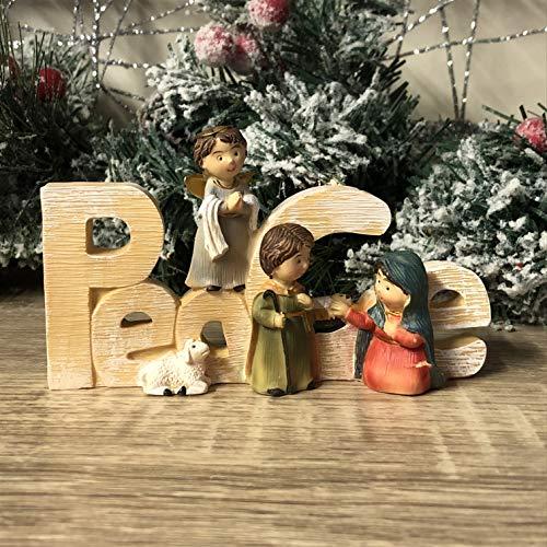 Mezzaluna Gifts Noel | Peace | Joy freistehende Ornamenttafel Krippe (Peace L14 cm)
