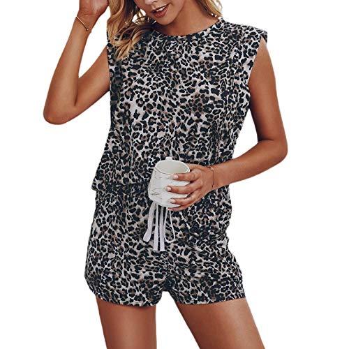 Conjunto de pijama para mujer de manga corta, ropa de dormir para damas y niñas, adecuado para uso diario casual, uso en el hogar, pijamas, pantalones cortos de pijama sueltos y cómodos
