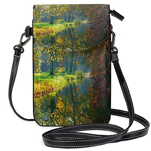 XCNGG Monedero pequeño para teléfono celular Autumn Tree View Cell Phone Purse Wallet for Women Girl Small Crossbody Purse Bags