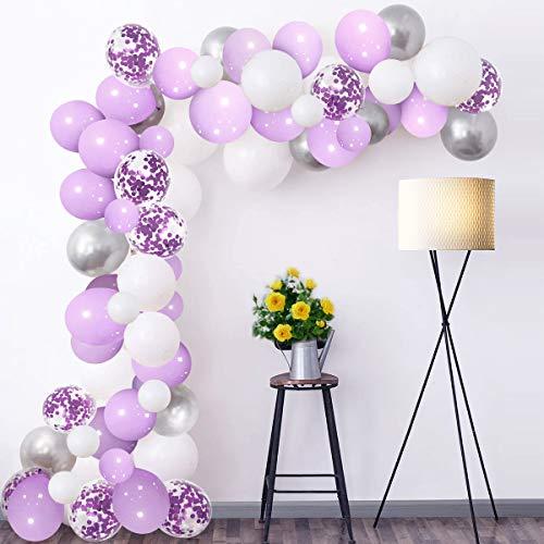 Luftballon Girlande Set Lila Violett Weiß Silber 102 Stück Pastell Helium Konfetti Latex Ballons mit 5m Ballonbogen Klebepunkt für Hochzeit Mädchen Geburtstag Taufe Jubiläum Party Deko