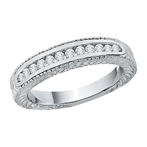 KATARINA Alianza de boda con diamantes en oro blanco de 14 k (1/4 quilates, J-K, SI2-I1) (tamaño 8)