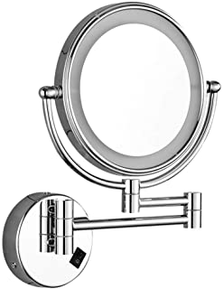 Wall-Mounted Makeup Mirror Lighted Makeup Mirror 8-inch Bathroom Vanity Mirror Wall-Mounted Folding 3X5X7X Magnifying Glass Metal Mirror 5CD1 (Color : Silver, Size : 8 inches 5X)