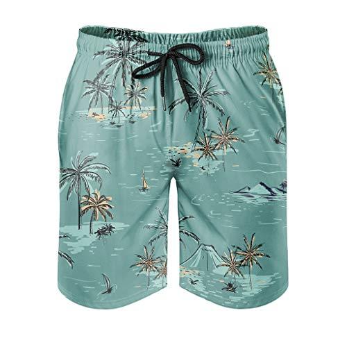 Mentmate Store Herren Kokosnussbaum Badeanzüge atmungsaktiv - Sommer Boardshorts mit 2 Seitentaschen für Strandsportarten White m