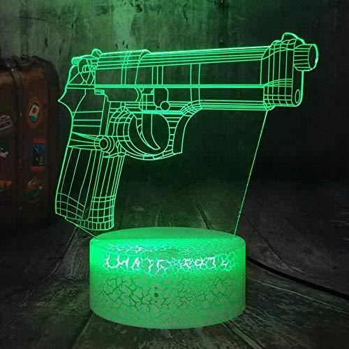 ADIS Lámpara de ilusión 3D Luz de Noche Led Night Battle Royale Juego Pubg TPS Pistola Rifle 7 Colores Lámpara de Mesa óptica para Amantes de Las Armas Lámpara