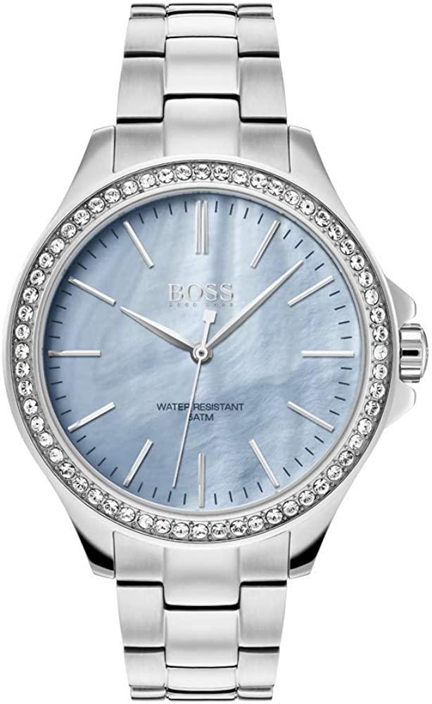 Hugo boss orologio per donna in acciaio inossidabile, e quadrante in madreperla blu 1502457