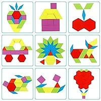 Lewo 230 Pezzi Blocchi di Legno Puzzle di Legno Classico educativo Giocattoli Montessori Set di Tangram per Bambini #2
