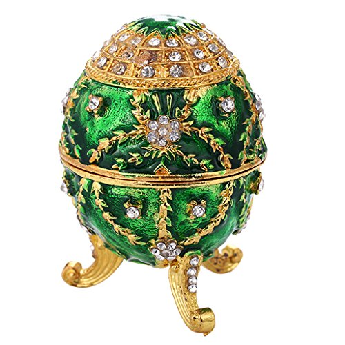 F Fityle Flower Fabergé Caja de Huevos con Cristales Colección de Huevos de Pascua Caja de Recuerdos Caja de Joyería
