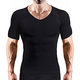 VENI MASEE Mens Compression Shirt Slimming Shaper Mens Slim and Tight Super Soft V-Neck Compression Shirt