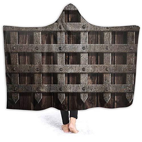 hobeauty home Hooded Blanket dieval Wooden Castle Wall Metal Gate Greek Mid Century Sloth Hooded Blanket Fit for Kids, Adults, Teens 50 x 40 Inch
