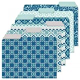 Coastal Blues File Folder Value Pack - Set of 24 File Folders with Staggered Tabs, 6 Designs, Graphic Geometric Print, Office Supplies, Letter Size, 9 ½ x 11 ¾ Inches